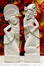 G6 Collection Hand Carved Limestone Sculpture Set of 2, Balinese Dancer Couple Statue Home Decor Handmade Handcrafted Gift Decorative Figurine Accent Decoration Artwork Stone (12
