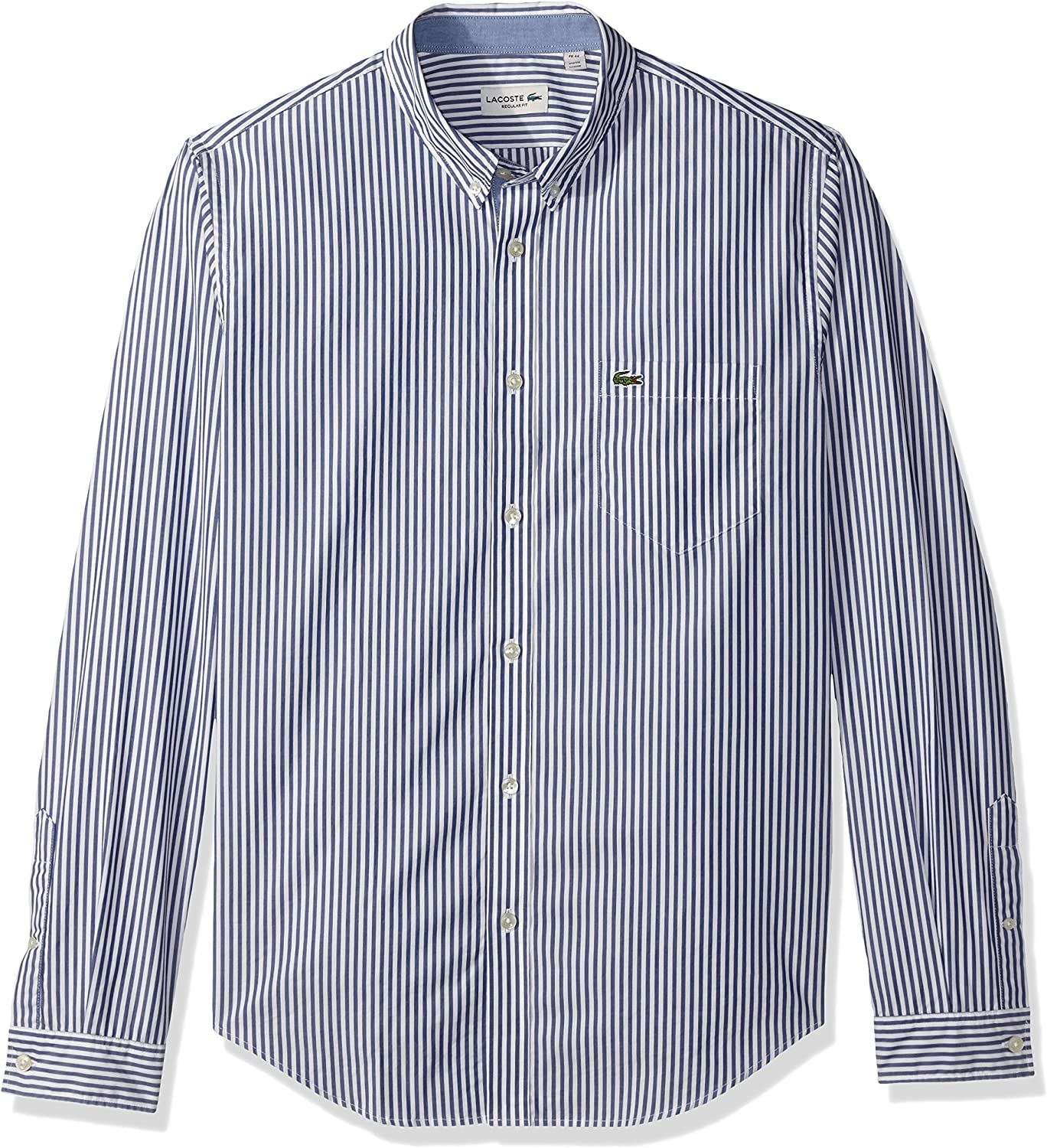 Indefinitely Quality inspection Lacoste Men's Long Sleeve Bengal Stripe Shirt Regular Fit Woven