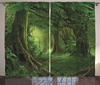Ambesonne Forest Decor Curtains by, Enchanted Woodland Foliage in Deep Tropical Jungle at Southeast Asian Landscape, Living Room Bedroom Window Drapes 2 Panel Set, 108W X 63L Inches, Green