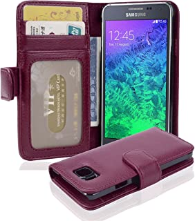 Cadorabo Book Case Works with Samsung Galaxy Alpha in Bordeaux Purple – with Magnetic Closure and 3 Card Slots – Wallet Etui Cover Pouch PU Leather Flip