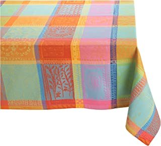 Garnier Thiebaut Mille Wax 100% two-ply twisted cotton 71-Inch by 118-Inch Oblong Tablecloth, Creole, Made in France