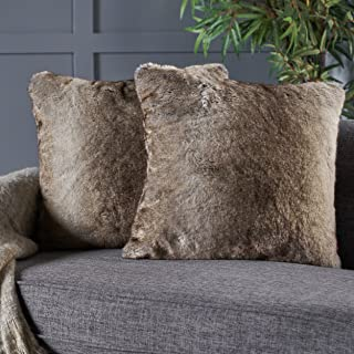 Christopher Knight Home Elise Fabric Pillows with Polyester Fiber Fill, 2-Pcs Set, Ash White