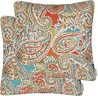 Mika Home Pack of 2 Decorative Accent Throw Pillow Cover Sham Cushion Case,Paisley Pattern,20x20 Inches,Red Teal Cream Multicolor