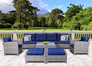 SunHaven Resin Wicker Outdoor Patio Furniture Set - 9 Piece Conversation Sectional Premium All Weather Gray Wicker Rattan, Aluminum Frame with Deluxe Fade Resistant Blue Olefin Cushions (Stamford)