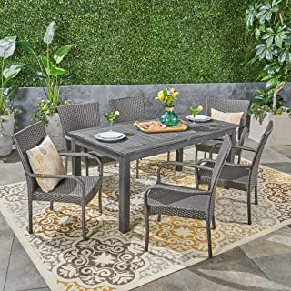 Great Deal Furniture Ellis Outdoor 7 Piece Wood and Wicker Expandable Dining Set, Dark Gray and Gray