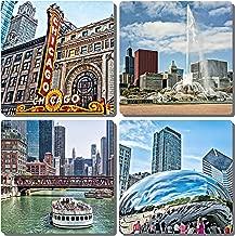 EXIT82ART - Stone Drink Coasters (Set of 4). Iconic Chicago. Tumbled Stone, Cork-backed.