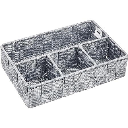 WENKO Organiseur de salle de bains Adria petit gris - Organiseur den bain, Polypropylène, 26 x 6.5 x 17 cm, Gris