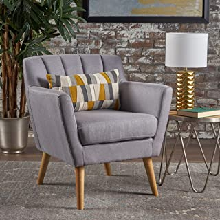 Christopher Knight Home Madelyn Mid Century Modern Fabric Club Chair (Light Grey)