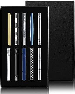 LOLIAS 10 Pcs Mens Tie Clip Set Skinny Tie Clip Silver-Tone Black Gray Tie Bar Clip with Gift Case Tie Clip