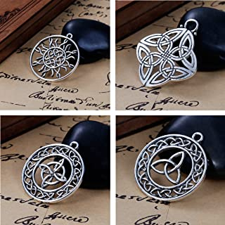 JGFinds Celtic Knot Charms, 20 pc (5 of Each) Silver Tone Pendants, Large Over 1 1/4 Inch