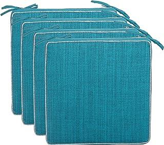 Brandsseller Lot de 4 coussins de chaise d'extérieur avec passepoil - Aspect lin uni - Résistant à la saleté et à l'eau - ...