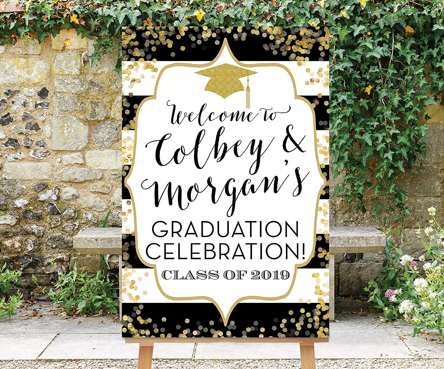 DKISEE Graduation Save money Welcome Finally popular brand Sign Black Gold Na Two