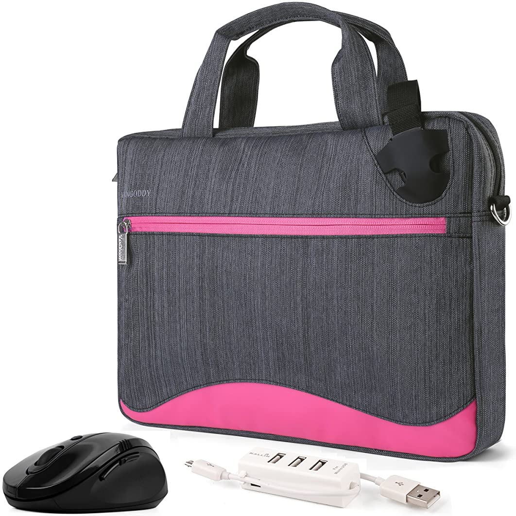 VanGoddy Wave Slim Magenta Anti Theft Messenger Bag w/Mouse & USB Hub for Microsoft Surface Book 1 & 2 / Surface Pro 6, 5 / Surface Laptop 1 & 2 11