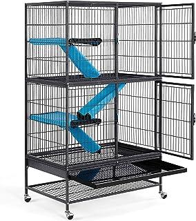 Yaheetech Jaulas para Hurones 137x78x51cm Grande Jaula para Hamster con Escalera Jaula de Dos Pisos Separados Casa para Ra...
