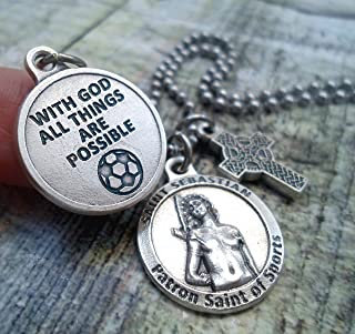 St. Sebastian Soccer Charm Necklace, Patron Saint of Athletes, Keychain or Purse-Backpack Clip, Unisex