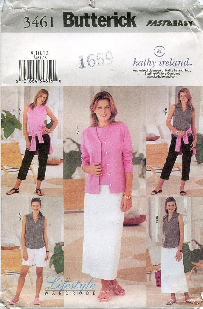 Butterick Pattern 3461 Kathy Ireland Lifestyle Wardrobe Misses'/Misses' Petite Cardigan, Top, Skirt, Shorts and Pants, Sizes 8-10-12
