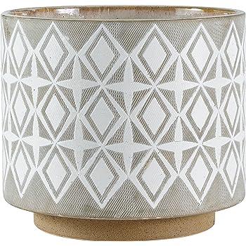 "Amazon Brand – Rivet Geometric Ceramic Planter, 8.7""H, White and Grey"