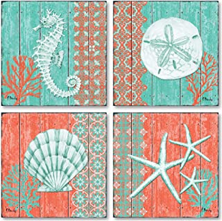 Gango Home Décor 4 Lovely Teal and Coral Ocean Seashell Sand Dollar Seahorse Star Fish Collage Poster Prints; Nautical Decor; Four 8x8in Poster Prints