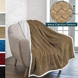 PAVILIA Premium Chevron Sherpa Throw Blanket | Soft Reversible Taupe Fleece Blanket Throw | Plush, Fuzzy Throw for Couch Sofa, Lap TV Blanket| Lightweight Microfiber, 50x60 Inches