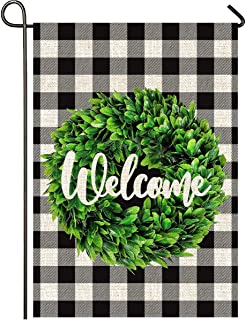 Mogarden Welcome Winter Garden Flag, Double Sided, 12.5 x 18 Inches, Buffalo Check Plaid Thick Weatherproof Burlap Small B...