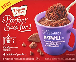 Duncan Hines Perfect Size for 1 Brownie Mix, Ready in About a Minute, Chocolate Brownie, 4 Individual Pouches, 2.64 Ounce (Pack of 4)