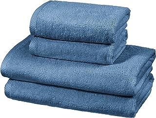 comprar comparacion AmazonBasics - Juego de 4 toallas de secado rápido, 2 toallas de baño y 2 toallas de mano - Azulón