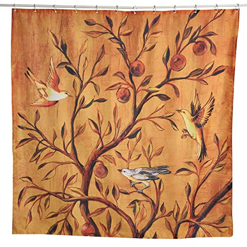Lebather Fabric Shower Curtains Fruit Tree With Bird Wooden Print Design Waterproof Decorative Bathroom Curtain For