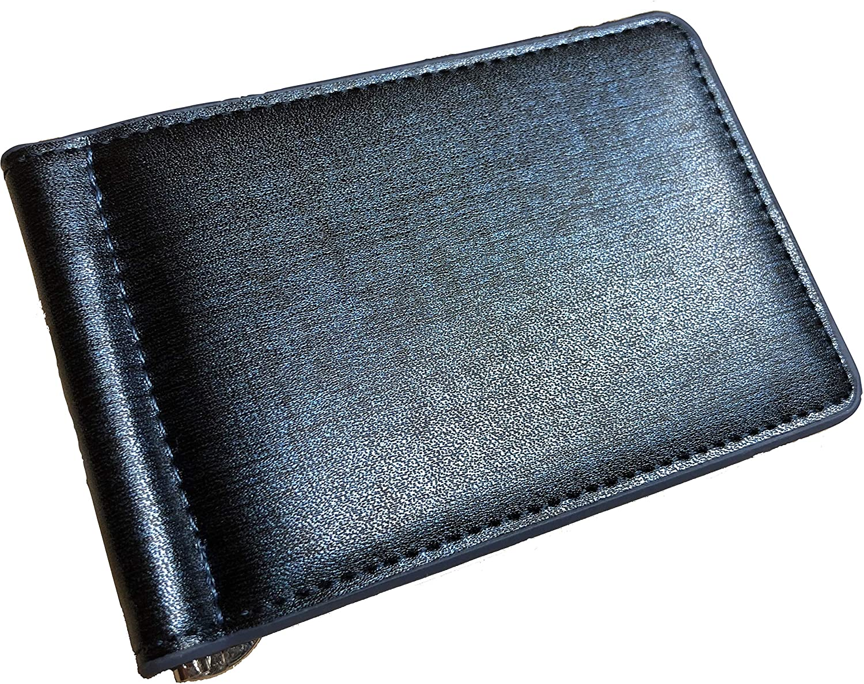 Luxury Mens Leather Money Clip Money Holder Classic Pocket Bi-Fold Slim Minimalist Wallet (Blue)