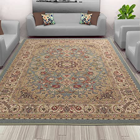 Sweet Home Blue Medallion Design Area Rug 3 3 X5 0 3 Feet 3 Inch By 5 Feet 0 Inch With Non Skid Non Slip Rubber Backing Furniture Decor
