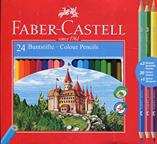 Faber-Castell 110324 Colour Pencil with 3 Bi-Colour Pencil/Sharpener (Pack of 24)