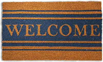 Avera Products Country Striped Welcome Welcome Mat, All Natural Coir Fiber with Anti-Slip PVC Backing, 17x29 ADR010