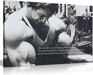 Panther Print Arnold Schwarzenegger Bodybuilding Motivation Quote Canvas Print Picture Wall Art Large 30 x 20 Inches (76cm x 51cm) Black, White