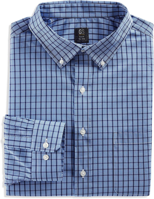 DXL Gold Series Big and Tall Medium Grid Dress Shirt, Blue