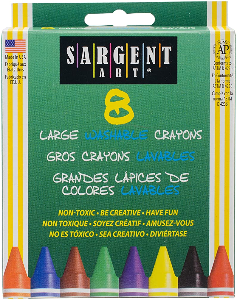 Sargent Art 35-0541 8-Count Large Washable-Crayons/Peggable