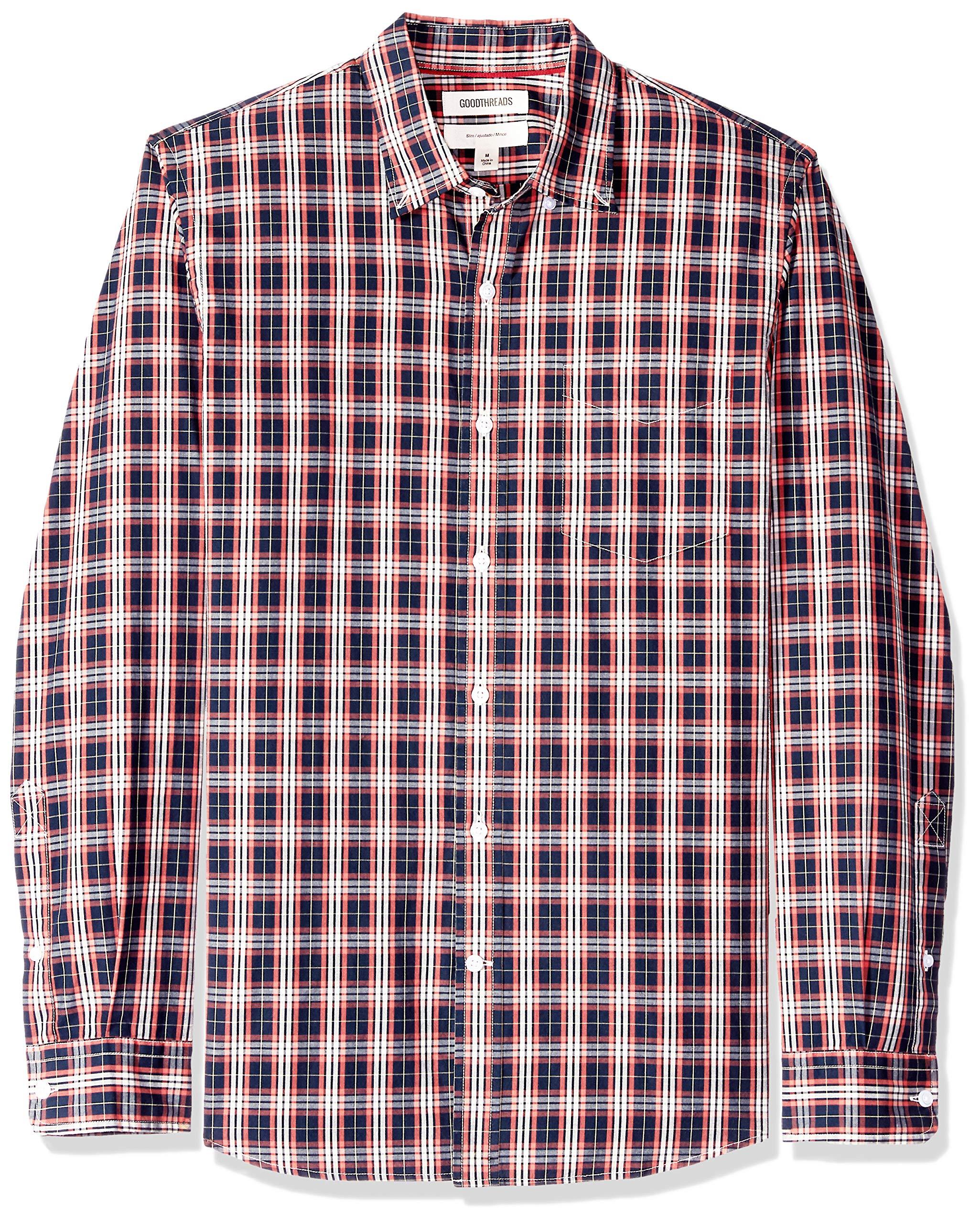 Goodthreads Mens Slim-Fit Long-Sleeve Plaid Poplin Shirt