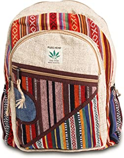 All Natural Handmade Multi Pocket Hemp Laptop Backpack - Multi Color Stripe