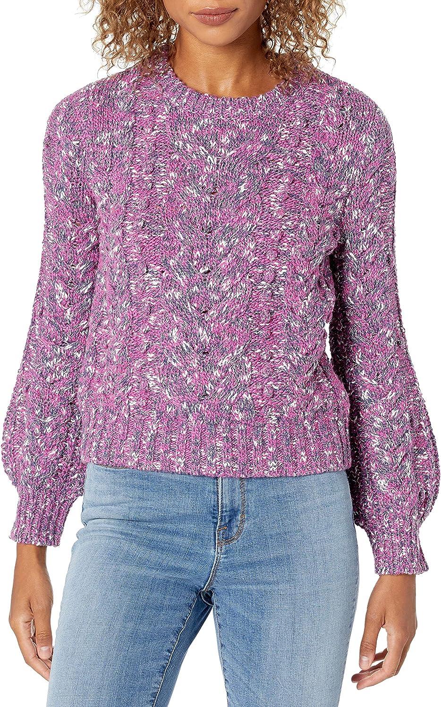 Amazon Brand - Goodthreads Women's Marled Popcorn Stitch Long Sleeve Cropped Crewneck Sweater