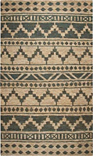 Rizzy Home Whittier Collection Jute Area Rug, 9' x 12', Sage/Natural Southwest/Tribal