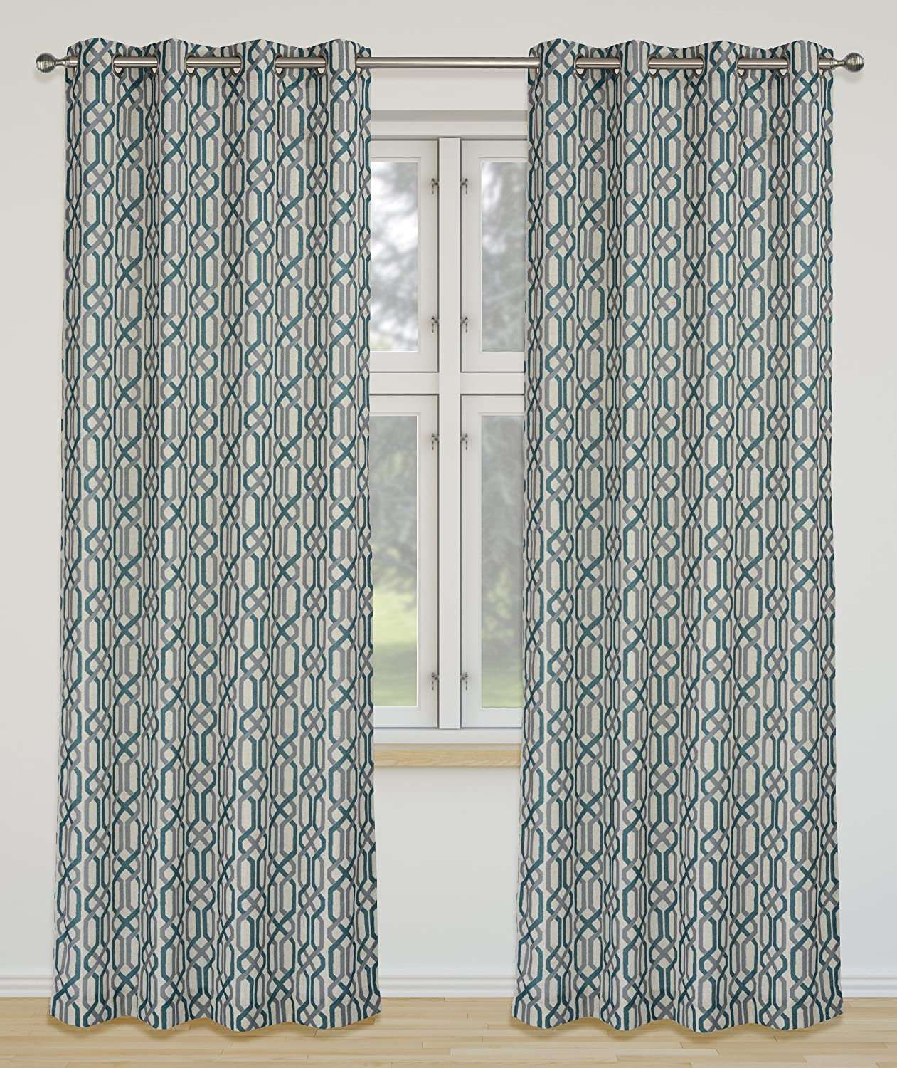 LJ Home Fashions Linked Geometric Linen Grommet Curtain Panels (Set of 2), 52x95-in, Ivory Sea bluee Grey