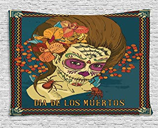 Ambesonne Day of The Dead Tapestry, Dia de Los Muertos Skull Girl with Roses Hearts Print, Wide Wall Hanging for Bedroom Living Room Dorm, 80