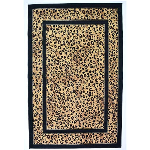 New Small Modern Animal Print Leopard Skin Area Funky Safari Rugs Soft Carpet Mats (60x110cm