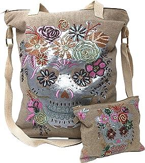 Sugar Skull Rose Flower Day of the Dead Hidden Carry Purse Totes Women Handbag Shoulder Bag Wallet Set