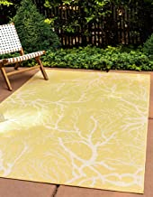 Unique Loom Outdoor Botanical Collection Abstract Pictorial Transitional Indoor and Outdoor Flatweave Yellow Area Rug (4' ...