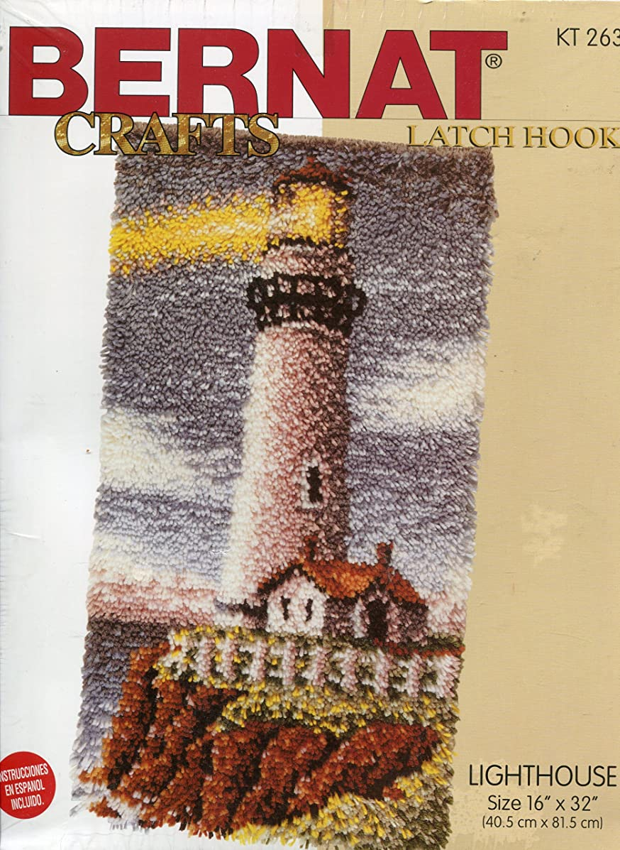 Bernat Crafts Lighthouse Premium Latch Hook Rug or Wall Hanging Kit ~ 16-by-32 Inch