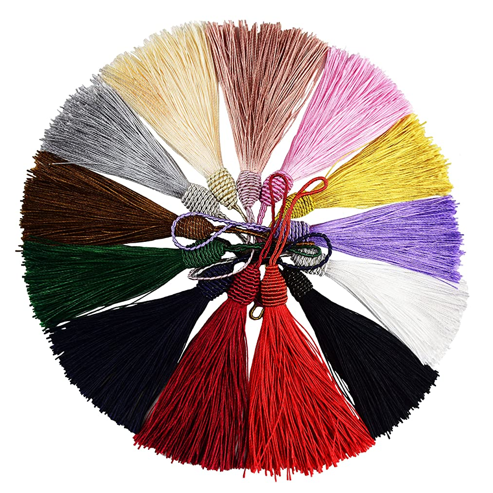 Makhry 52pcs 15.5cm/6 Inch Silky Floss bookmark Tassels with 2-Inch Cord Loop and Small Chinese Knot for Jewelry Making, Souvenir, Bookmarks, DIY Craft Accessory (Mixed 13 Colors)