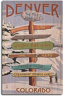 Lantern Press Denver, Colorado - Destinations Sign (10x15 Wood Wall Sign, Wall Decor Ready to Hang)