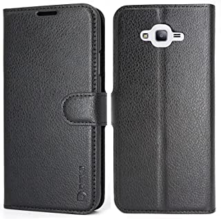 Galaxy J7 Neo/J700/Core/Nxt Case Wallet Black, Dekii Samsung Galaxy J7 2015 Leather Case, Ultra Slim PU Leather Flip Cover with Card Holder Kickstand, Magnetic Closure Phone Protective Case for Men