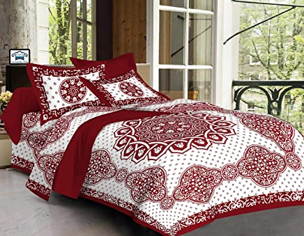 7b3a92865c PURE COMFORT 144TC 100% Cotton Super King Size Double Bedsheet with 2  Pillow Covers,
