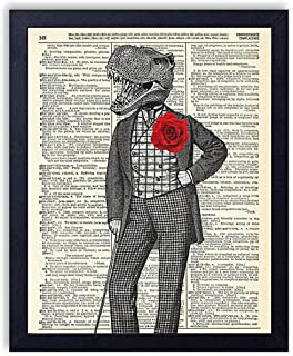 Gentleman Dinosaur With Red Rose Vintage Wall Art Upcycled Dictionary Art Print Poster 8x10 inches, Unframed