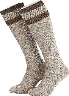 1 par de calcetines para traje tradicional tirolés con diseño de trenzas, calcetines para traje regional con sobre de lana largo